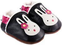 Capáčky kožené - černé se zajíčkem zateplené