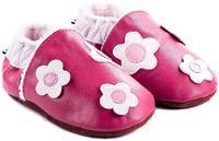 Capáčky kožené - tm.růžové s kytičkami