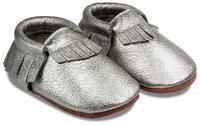 Capáčky kožené - Mini mokasíny - stříbrné