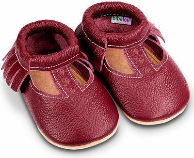 Capáčky kožené - sandálky bordó vel. XXL, XXL (14,2cm - 15,6cm)