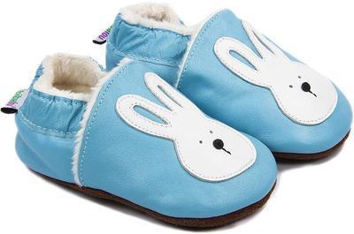 Capáčky kožené - sv. modré zajíček vel. M, M (10,2cm - 11,4cm)