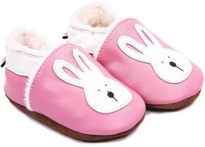 Capáčky kožené - růžové zajíček - 1