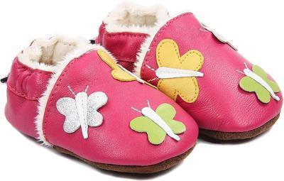 Capáčky kožené - růžové motýlci vel. S, S (8,7cm - 10,2cm)