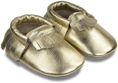Capáčky kožené - zlaté vel. S, S (8,7cm -10,2cm)