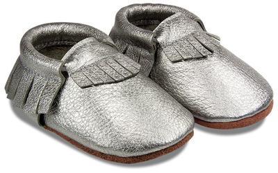 Capáčky kožené - stříbrné vel. XXL, XXL (14cm -15,5cm)