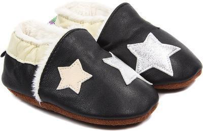 Capáčky kožené - černé s hvězdami vel. XXL, XXL (14cm -15,5cm)