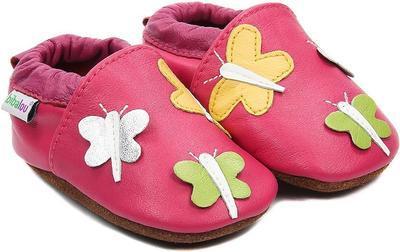 Capáčky kožené - tm.růžové motýlci - 1