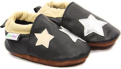 Capáčky kožené - černé s hvězdami vel. XXL, XXL (14,0cm - 15,8cm)