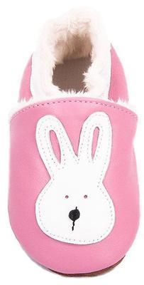 Capáčky kožené - růžové zajíček - 2