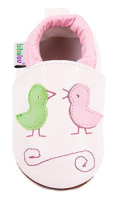 Capáčky kožené - bílé s ptáčky - 2