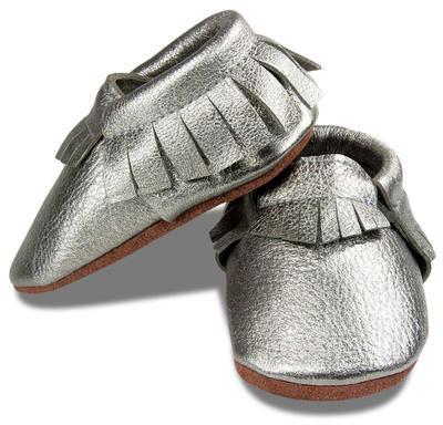 Kožené capáčky - stříbrné - 2
