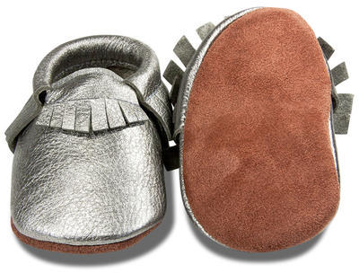 Kožené capáčky - stříbrné - 3